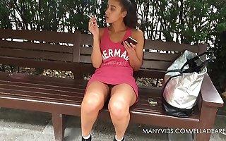 Smoking Teen Public Upskirt No Panties